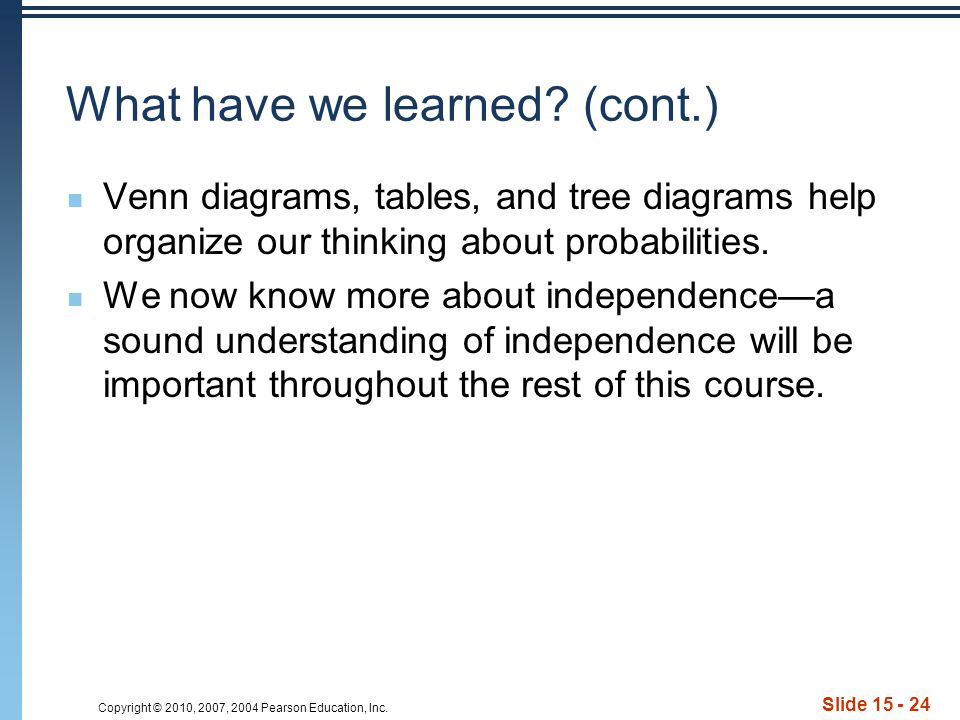 Copyright © 2010, 2007, 2004 Pearson Education, Inc. Slide 15 - 24 What have we learned? (cont.) Venn diagrams, tables, and tree diagrams help organiz