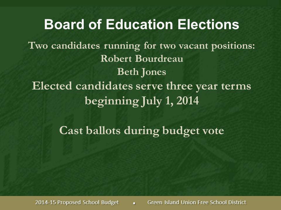 Board of Education Elections Two candidates running for two vacant positions: Robert Bourdreau Beth Jones Elected candidates serve three year terms beginning July 1, 2014 Cast ballots during budget vote 2014-15 Proposed School Budget.