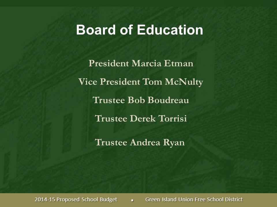 Board of Education President Marcia Etman Vice President Tom McNulty Trustee Bob Boudreau Trustee Derek Torrisi Trustee Andrea Ryan 2014-15 Proposed School Budget.
