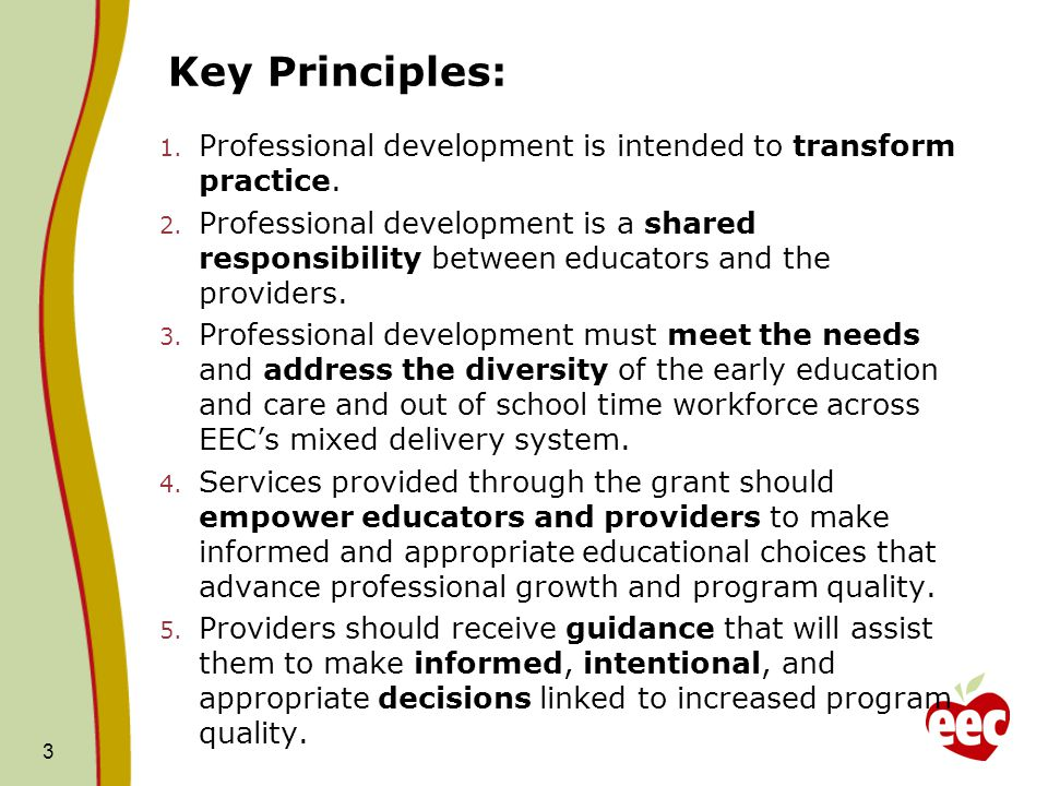 Key Principles: 1. Professional development is intended to transform practice. 2. Professional development is a shared responsibility between educator