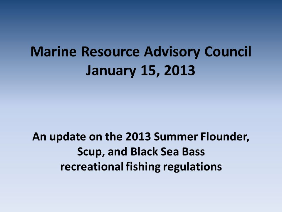 Summer Flounder 2012 Regulations: 4 fish at 19.5 May 1 – September 30 In 2012 NY recreational anglers harvested (MRIP): – 514,328 fluke – 1.35 million targeted trips NY's 2013 allocation = 440,960 fish Assuming no changes: – recreational summer flounder harvest reduction of 14.3%