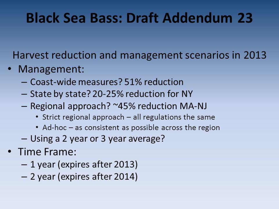 Black Sea Bass: Draft Addendum 23 Harvest reduction and management scenarios in 2013 Management: – Coast-wide measures.