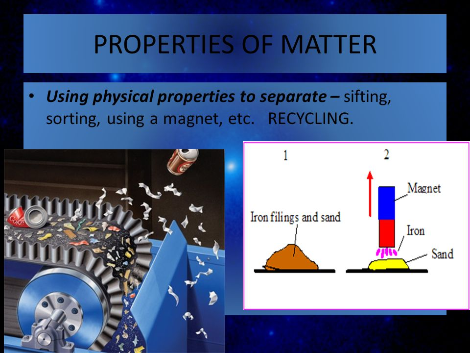 PROPERTIES OF MATTER Using physical properties to separate – sifting, sorting, using a magnet, etc. RECYCLING.
