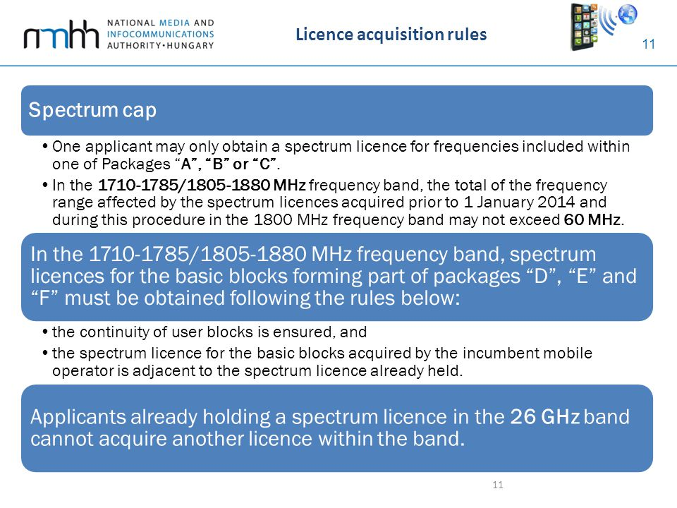 "11 Licence acquisition rules 11 Spectrum cap One applicant may only obtain a spectrum licence for frequencies included within one of Packages ""A"", ""B"""