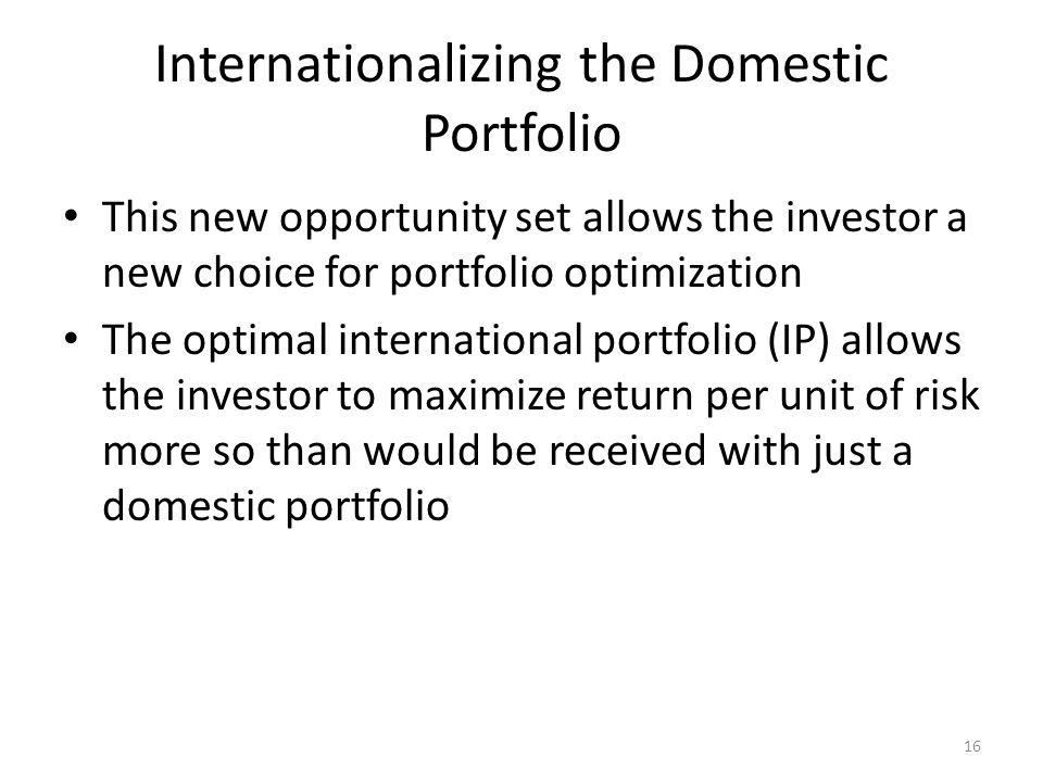 Internationalizing the Domestic Portfolio This new opportunity set allows the investor a new choice for portfolio optimization The optimal internation