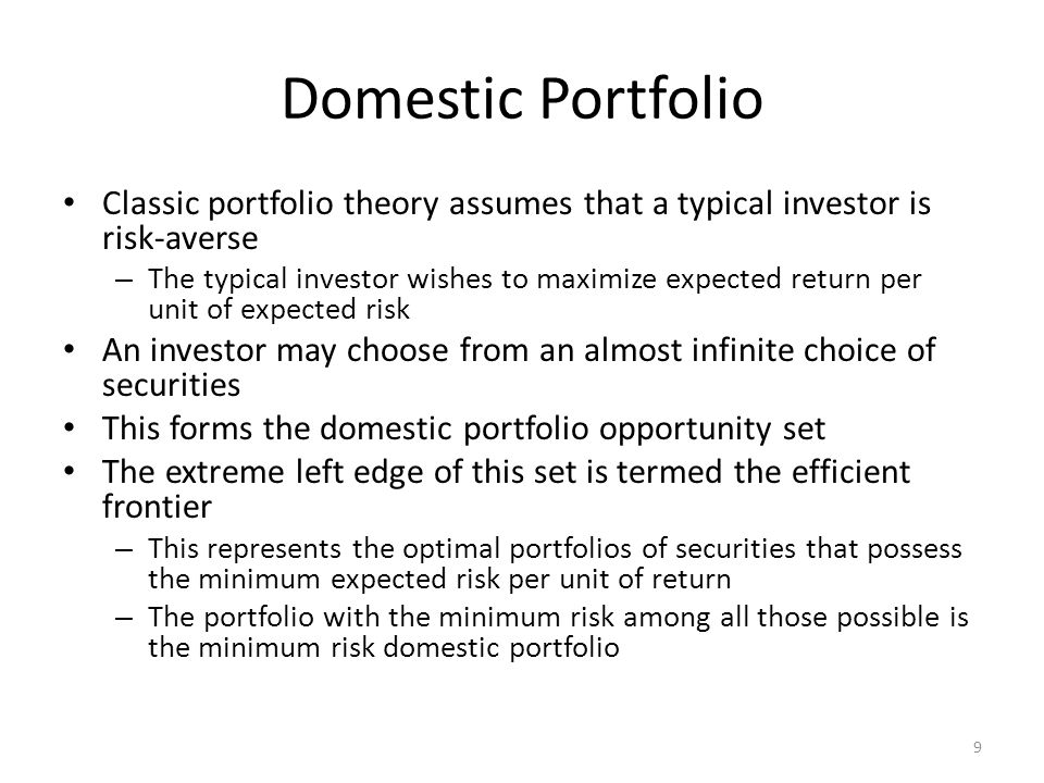 Calculating Portfolio Risk and Return Example of two-asset model Where: – E(R US ) = expected return on US security = 14% – E(R GER ) = expected return on German security = 18% – w US = weight of US security – w US = weight of German security – E(R P ) = expected return of portfolio 20