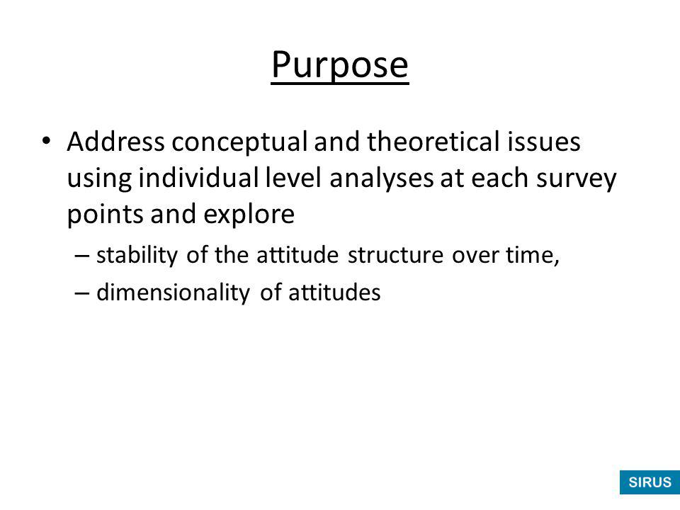 Purpose Address conceptual and theoretical issues using individual level analyses at each survey points and explore – stability of the attitude structure over time, – dimensionality of attitudes