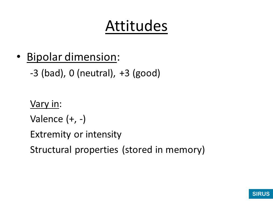Attitudes Bipolar dimension: -3 (bad), 0 (neutral), +3 (good) Vary in: Valence (+, -) Extremity or intensity Structural properties (stored in memory)