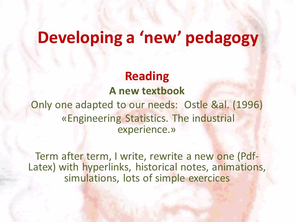 Developing a 'new' pedagogy Reading A new textbook Only one adapted to our needs: Ostle &al.