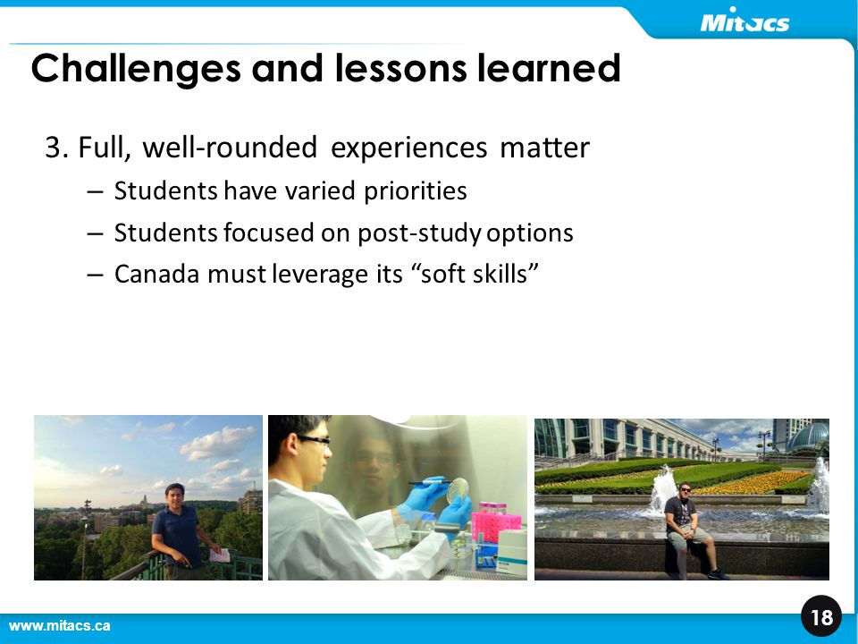 www.mitacs.ca 18 Challenges and lessons learned 3.