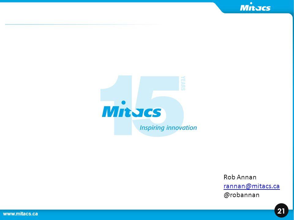 www.mitacs.ca 21 Rob Annan rannan@mitacs.ca @robannan