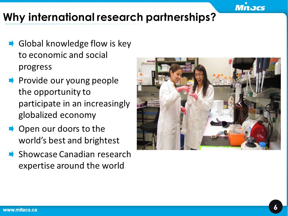 www.mitacs.ca 7 Launched in 2009 as a mechanism to attract high-quality grad students Launched in first year with 17 students from India This year, 500 students from eight countries at 50 Canadian universities Expanded funding in Budget 2012 as part of International Education Strategy Also supported by provincial governments, universities, and partner countries Globalink – a brief history