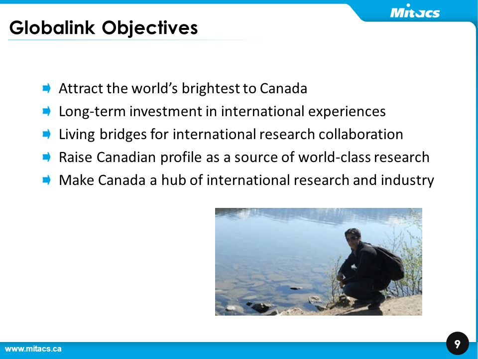 www.mitacs.ca 10 Mitacs Globalink Suite of Initiatives Globalink Come to Canada Research Internships Graduate Fellowships Travel from Canada Partnership Awards Research Awards