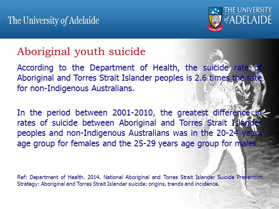 According to the Department of Health, the suicide rate of Aboriginal and Torres Strait Islander peoples is 2.6 times the rate for non-Indigenous Australians.