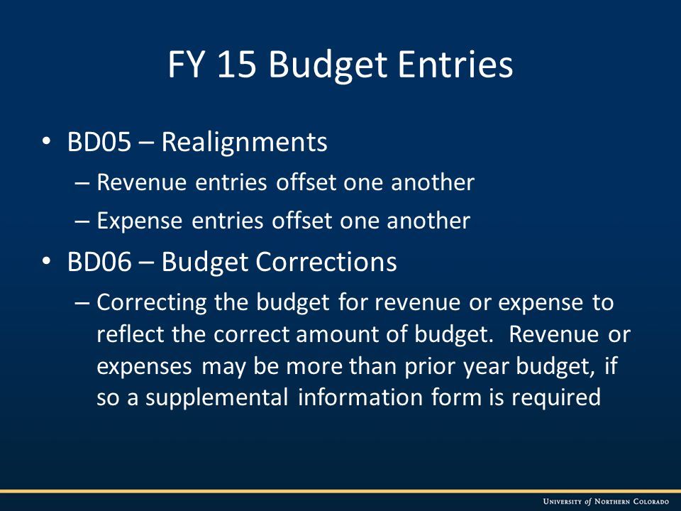 FY 15 Budget Entries BD05 – Realignments – Revenue entries offset one another – Expense entries offset one another BD06 – Budget Corrections – Correcting the budget for revenue or expense to reflect the correct amount of budget.