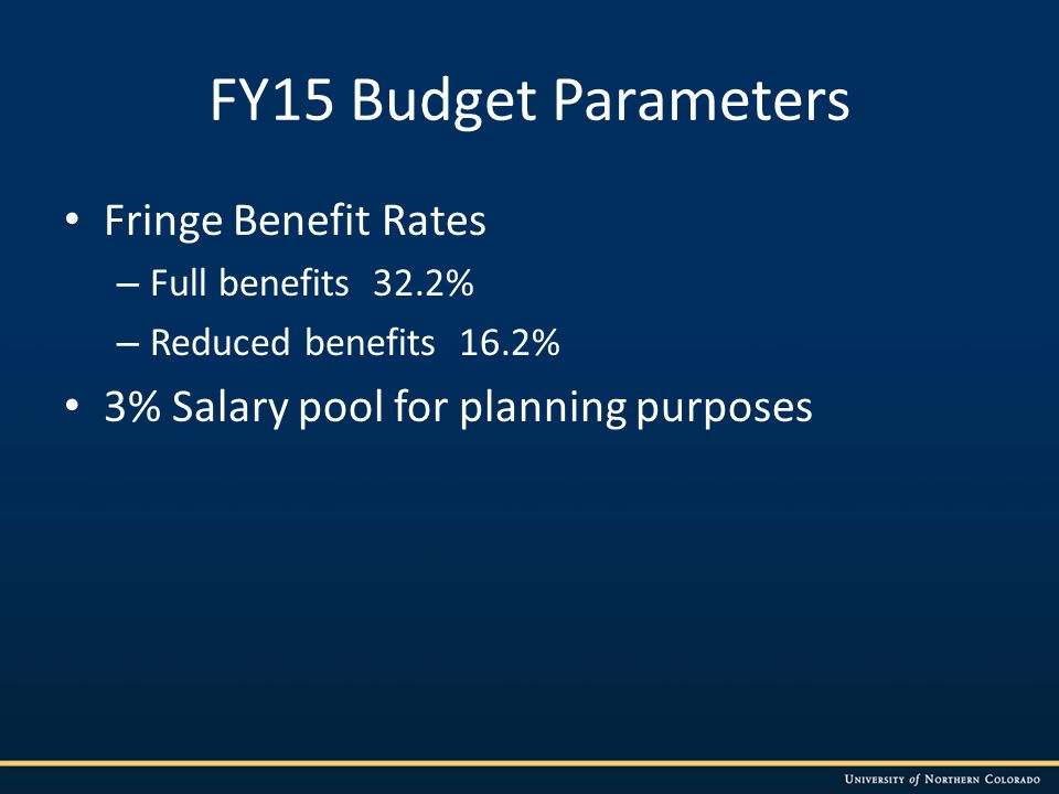 FY15 Budget Parameters Fringe Benefit Rates – Full benefits 32.2% – Reduced benefits 16.2% 3% Salary pool for planning purposes
