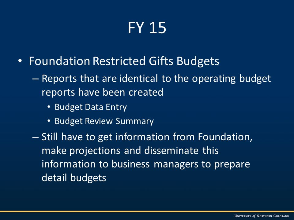 FY 15 Foundation Restricted Gifts Budgets – Reports that are identical to the operating budget reports have been created Budget Data Entry Budget Review Summary – Still have to get information from Foundation, make projections and disseminate this information to business managers to prepare detail budgets