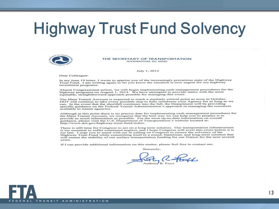 13 Highway Trust Fund Solvency