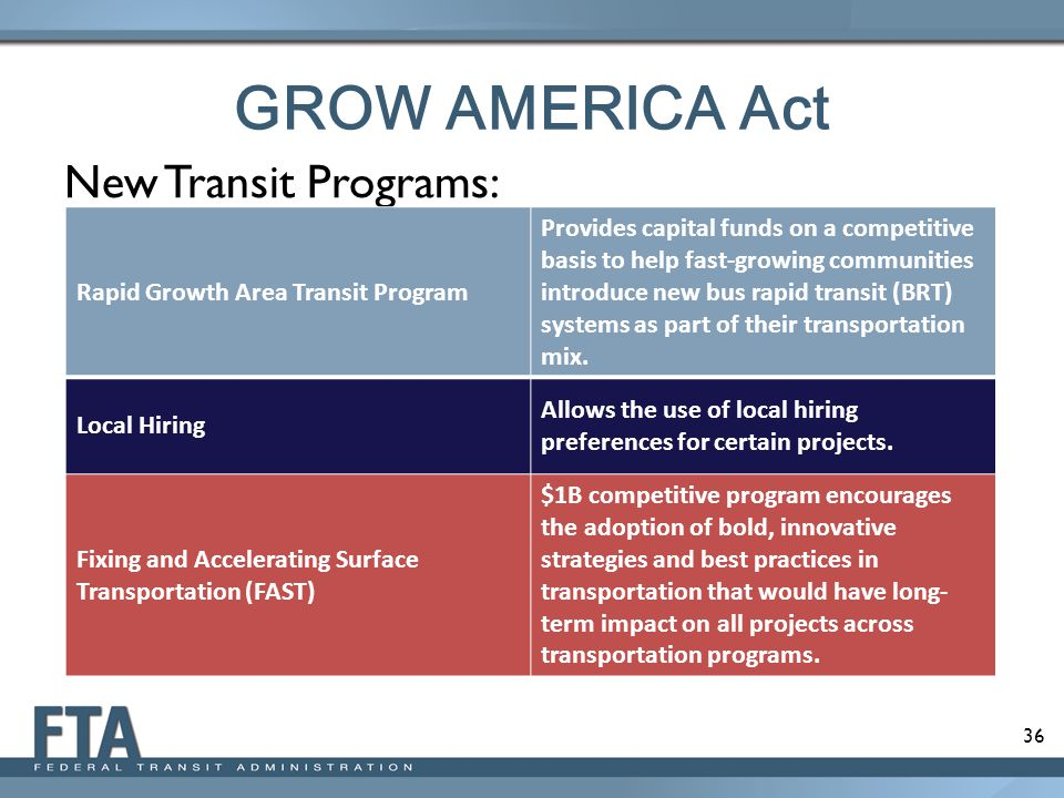 36 GROW AMERICA Act New Transit Programs: Rapid Growth Area Transit Program Provides capital funds on a competitive basis to help fast-growing communities introduce new bus rapid transit (BRT) systems as part of their transportation mix.