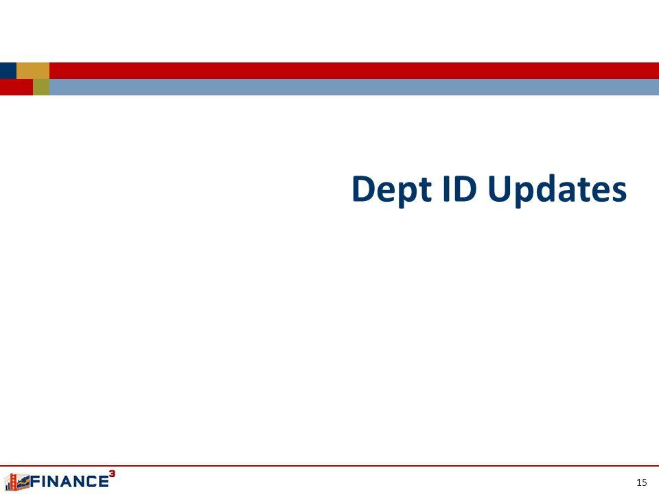 Dept ID Updates 15