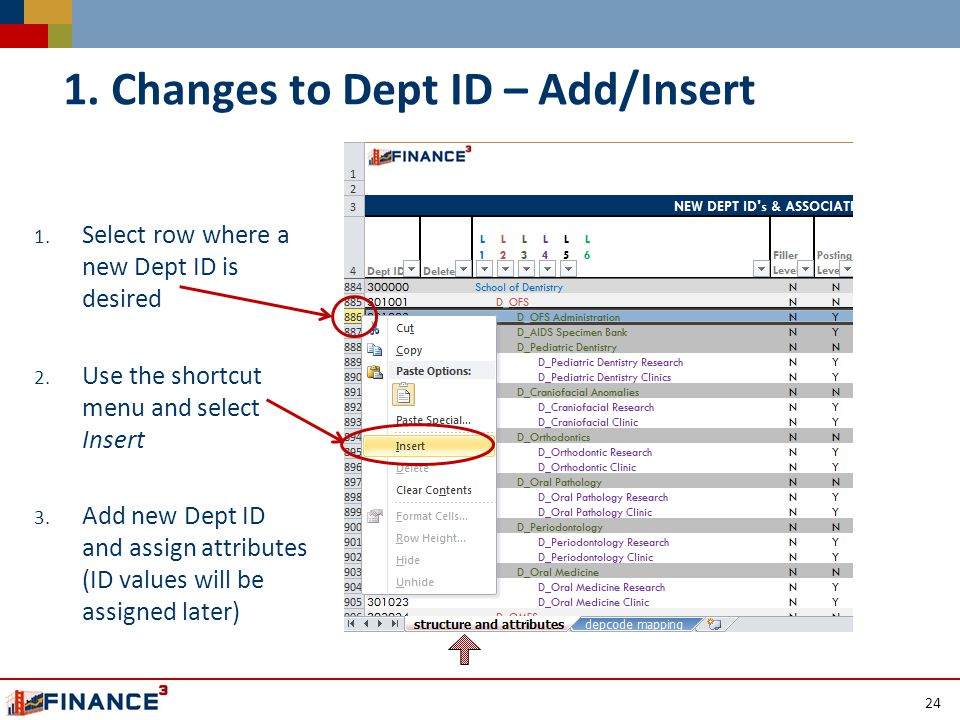 1. Select row where a new Dept ID is desired 2. Use the shortcut menu and select Insert 3.