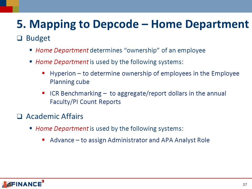  Budget  Home Department determines ownership of an employee  Home Department is used by the following systems:  Hyperion – to determine ownership of employees in the Employee Planning cube  ICR Benchmarking – to aggregate/report dollars in the annual Faculty/PI Count Reports  Academic Affairs  Home Department is used by the following systems:  Advance – to assign Administrator and APA Analyst Role 37 5.