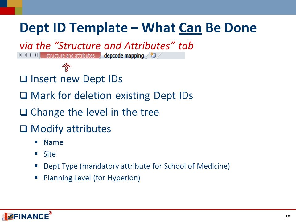 Dept ID Template – What Can Be Done via the Structure and Attributes tab  Insert new Dept IDs  Mark for deletion existing Dept IDs  Change the level in the tree  Modify attributes  Name  Site  Dept Type (mandatory attribute for School of Medicine)  Planning Level (for Hyperion) 38
