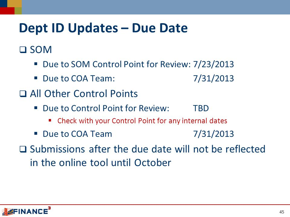 Dept ID Updates – Due Date  SOM  Due to SOM Control Point for Review: 7/23/2013  Due to COA Team: 7/31/2013  All Other Control Points  Due to Control Point for Review: TBD  Check with your Control Point for any internal dates  Due to COA Team7/31/2013  Submissions after the due date will not be reflected in the online tool until October 45