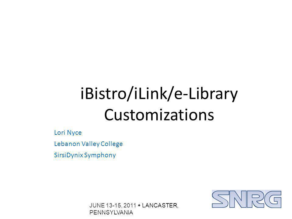 JUNE 13-15, 2011  LANCASTER, PENNSYLVANIA Custom Images: URL Link Hit List Item Record
