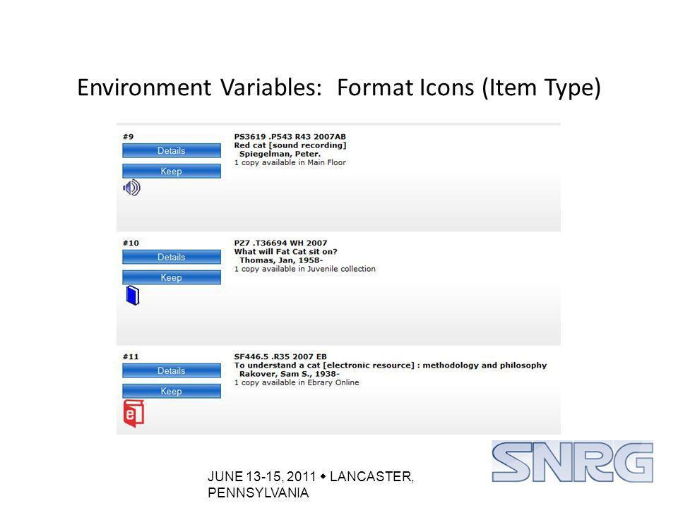 JUNE 13-15, 2011  LANCASTER, PENNSYLVANIA Environment Variables: Format Icons (Item Type)