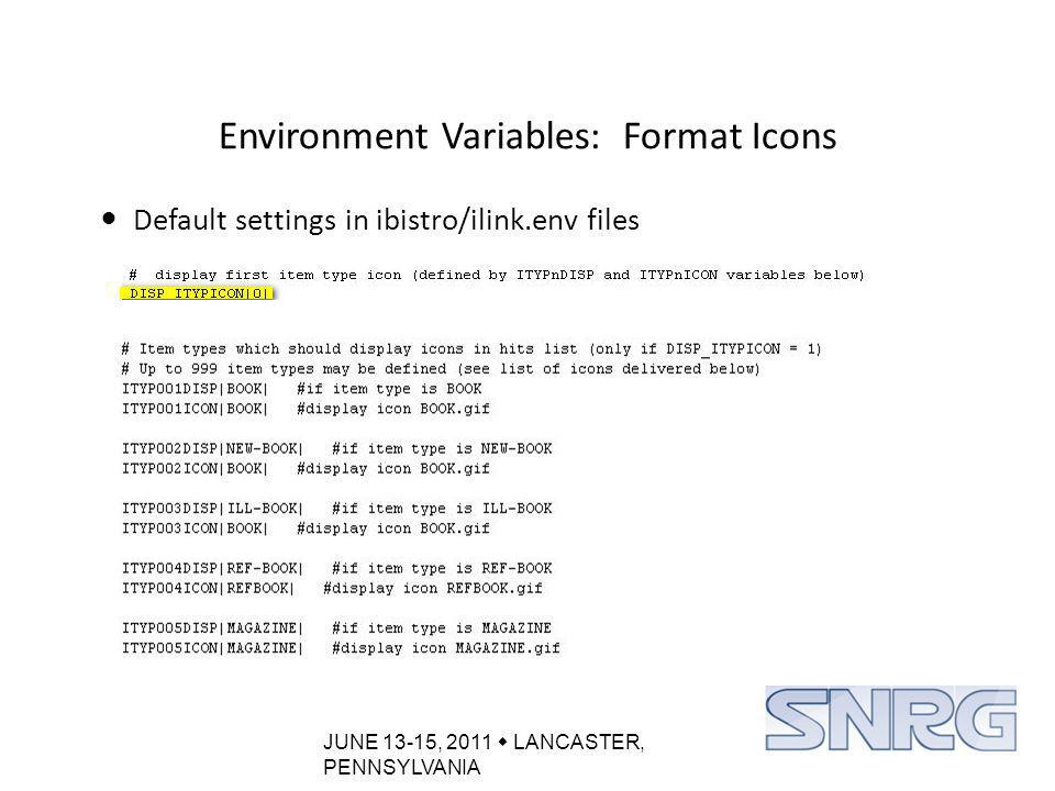 JUNE 13-15, 2011  LANCASTER, PENNSYLVANIA Environment Variables: Format Icons Default settings in ibistro/ilink.env files