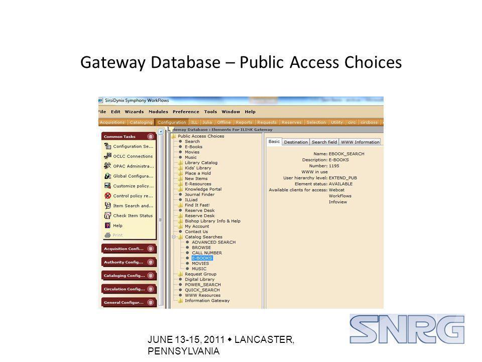 JUNE 13-15, 2011  LANCASTER, PENNSYLVANIA Create a Catalog Search: E-Books Catalog Searches Box (Part 1) Catalog Rootbar – create a relational alias (Part 2)