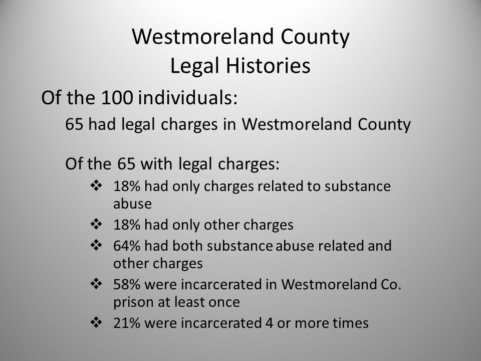 Westmoreland County Legal Histories Of the 100 individuals: 65 had legal charges in Westmoreland County Of the 65 with legal charges:  18% had only charges related to substance abuse  18% had only other charges  64% had both substance abuse related and other charges  58% were incarcerated in Westmoreland Co.