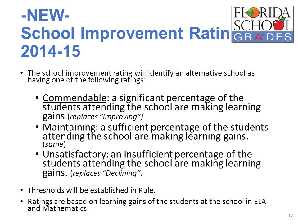 -NEW- School Improvement Ratings 2014-15 The school improvement rating will identify an alternative school as having one of the following ratings: Commendable: a significant percentage of the students attending the school are making learning gains (replaces Improving ) Maintaining: a sufficient percentage of the students attending the school are making learning gains.