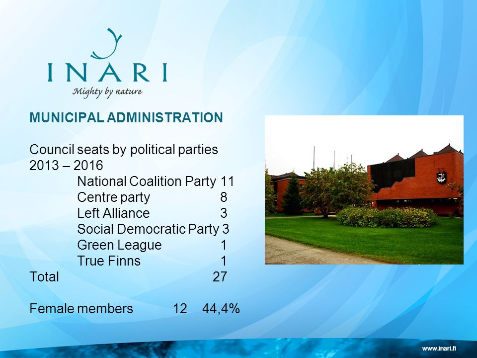 www.inari.fi MUNICIPAL ADMINISTRATION Council seats by political parties 2013 – 2016 National Coalition Party11 Centre party8 Left Alliance3 Social Democratic Party 3 Green League1 True Finns1 Total 27 Female members12 44,4%