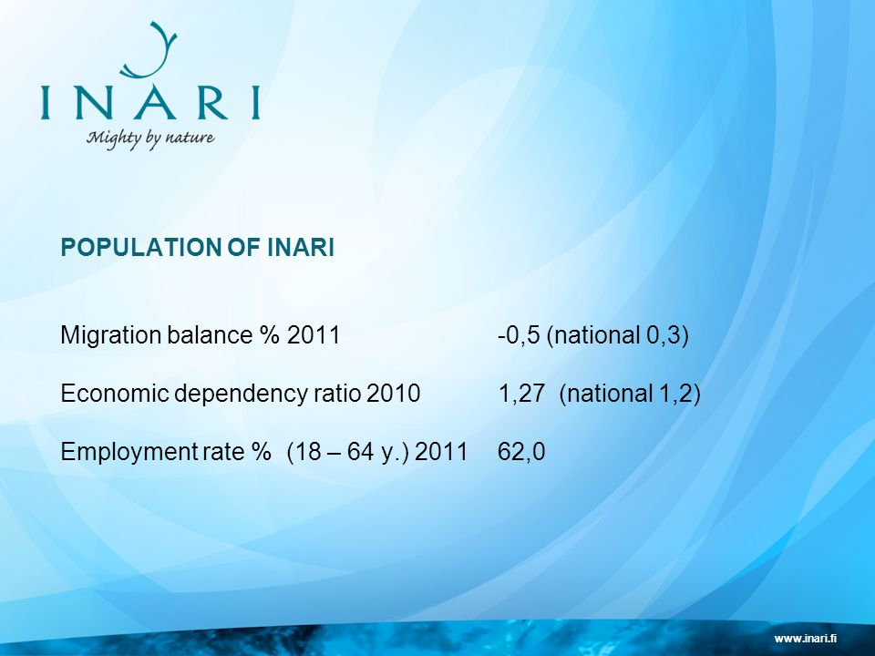 www.inari.fi POPULATION OF INARI Migration balance % 2011-0,5 (national 0,3) Economic dependency ratio 20101,27 (national 1,2) Employment rate % (18 – 64 y.) 201162,0