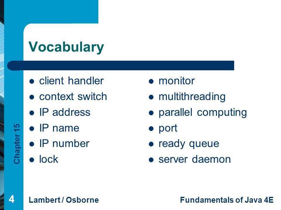 Chapter 15 Lambert / OsborneFundamentals of Java 4E 555 Vocabulary (continued) socket synchronized method Synchronization problem time slicing
