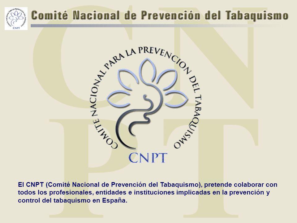 El CNPT (Comité Nacional de Prevención del Tabaquismo), pretende colaborar con todos los profesionales, entidades e instituciones implicadas en la prevención y control del tabaquismo en España.