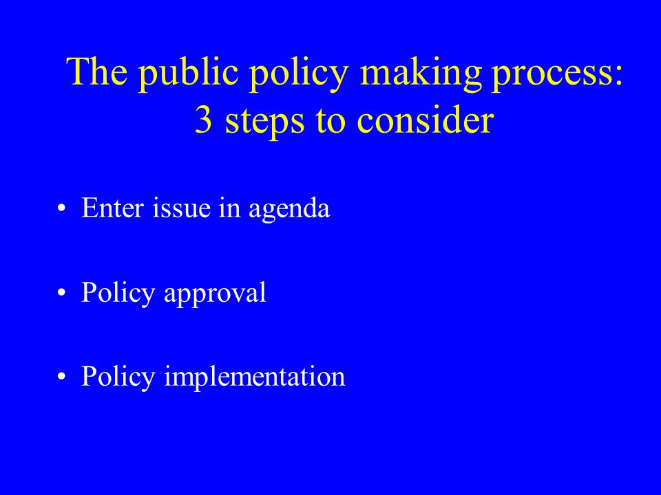 The public policy making process: 3 steps to consider Enter issue in agenda Policy approval Policy implementation
