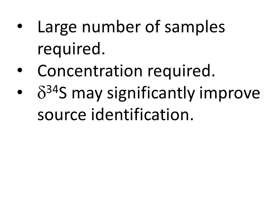 Large number of samples required. Concentration required.  34 S may significantly improve source identification.