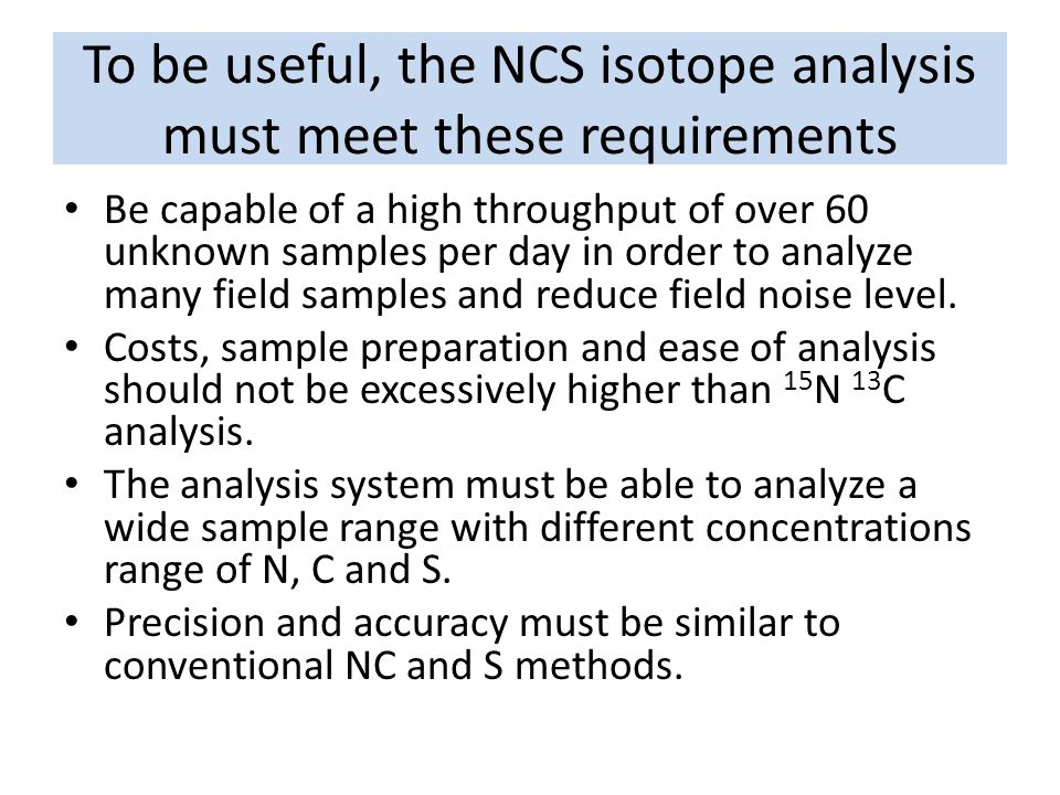 To be useful, the NCS isotope analysis must meet these requirements Be capable of a high throughput of over 60 unknown samples per day in order to ana