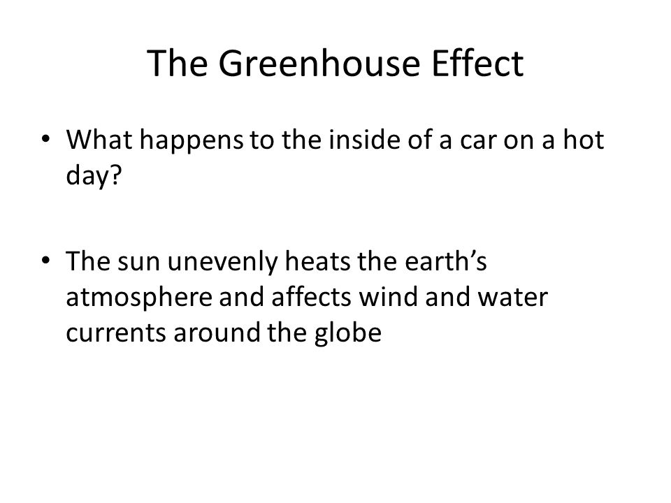 The Greenhouse Effect What happens to the inside of a car on a hot day.