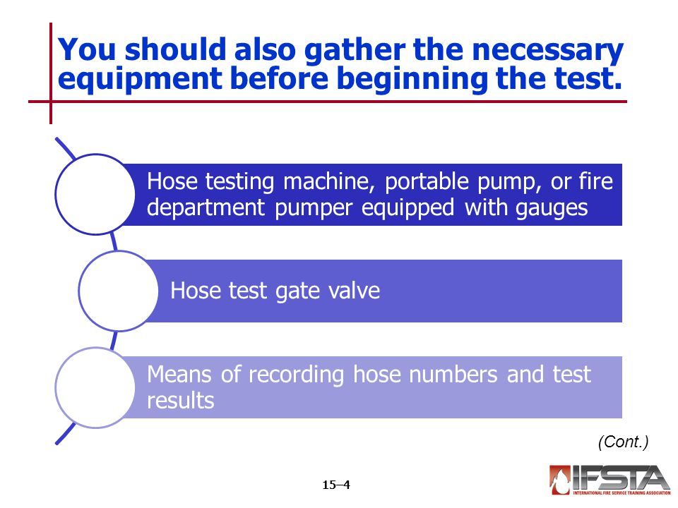 Tags or other means to identify sections that fail Nozzles with shutoff valves Means of marking each length with year of test You should also gather the necessary equipment before beginning the test.