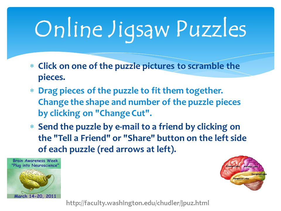  Click on one of the puzzle pictures to scramble the pieces.