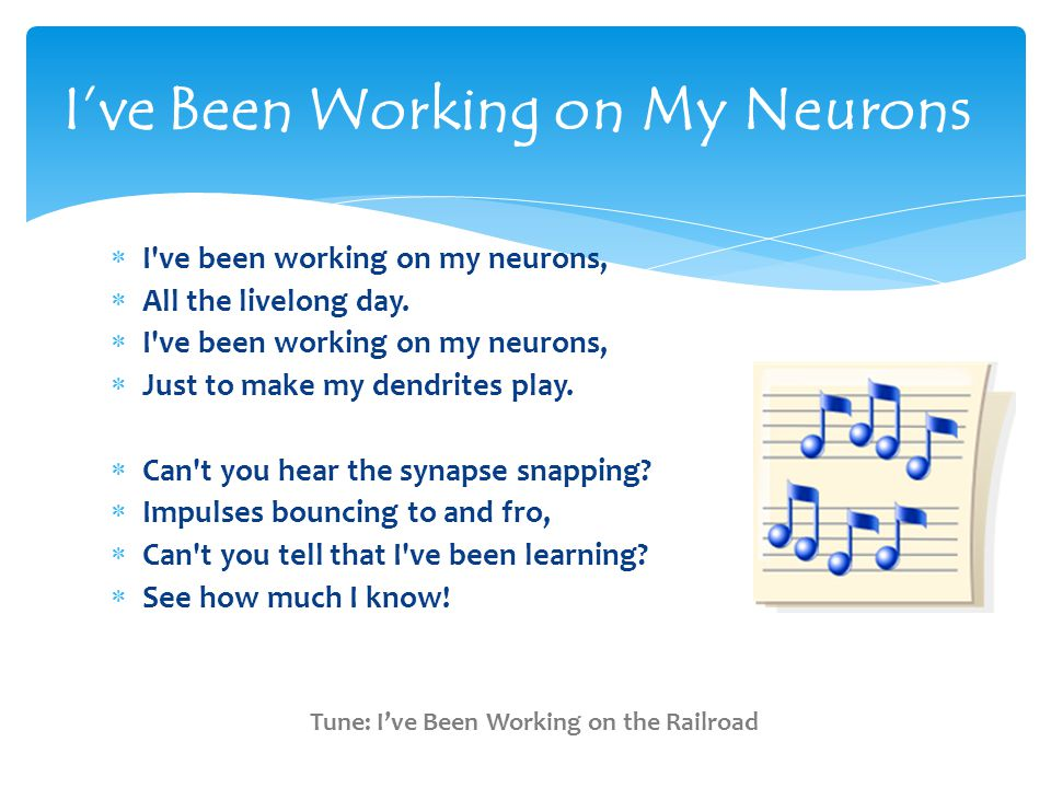  I ve been working on my neurons,  All the livelong day.