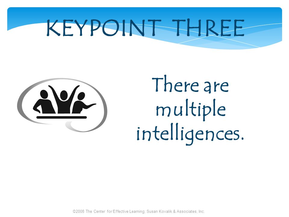 KEYPOINT THREE There are multiple intelligences.