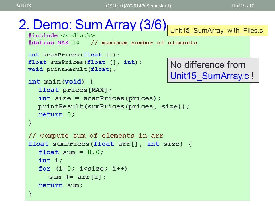 2. Demo: Sum Array (3/6) CS1010 (AY2014/5 Semester 1)Unit15 - 10© NUS #include #define MAX 10 // maximum number of elements int scanPrices(float []);