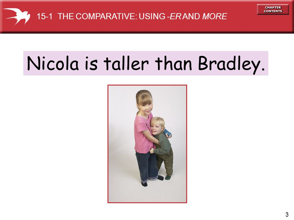 3 Nicola is taller than Bradley. 15-1 THE COMPARATIVE: USING -ER AND MORE