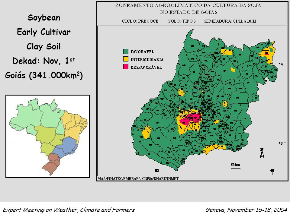 Expert Meeting on Weather, Climate and Farmers Geneva, November 15-18, 2004 Soybean Early Cultivar Clay Soil Dekad: Nov, 1 st Goiás (341.000km 2 )
