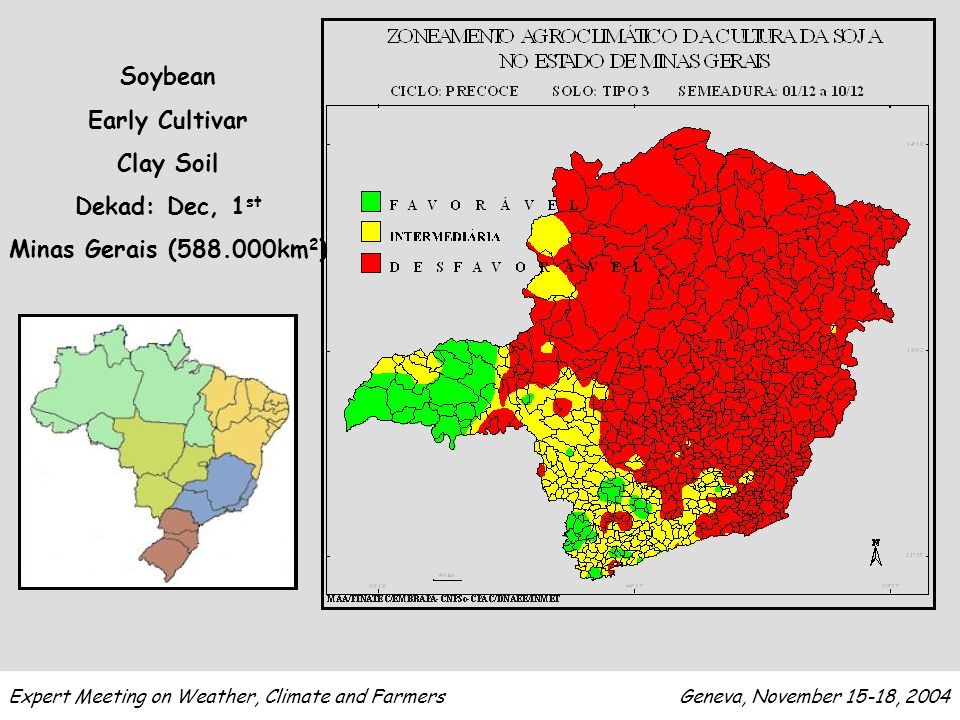 Soybean Early Cultivar Clay Soil Dekad: Dec, 1 st Minas Gerais (588.000km 2 ) Expert Meeting on Weather, Climate and Farmers Geneva, November 15-18, 2004